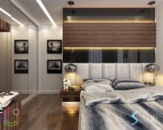 a very smart ,elegant and modern design in a very small bedroom. Wood Bedroom, Bedroom Sets, Bedroom Furniture, Bedrooms, Modern Bedroom Design, Modern Design, Very Small Bedroom, Bed Wall, Bedroom Styles