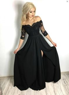 Black Off Shoulder Lace Prom Dress,Chiffon Ball Dress with Slit Side sold by SeventeenProm. Shop more products from SeventeenProm on Storenvy, the home of independent small businesses all over the world. Prom Dress Black, Long Black Evening Dress, Prom Girl Dresses, Girls Party Dress, Ball Dresses, Wedding Dresses, Romantic Dresses, Black Dress With Slit, Long Black Bridesmaid Dresses