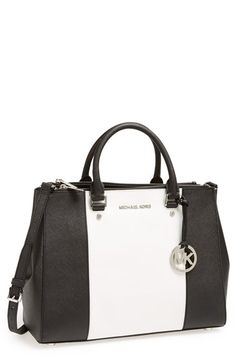 MICHAEL Michael Kors 'Large Sutton Center Stripe' Saffiano Leather Tote available at #Nordstrom