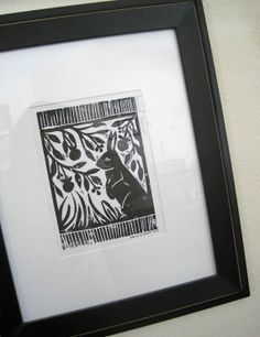 Garden Rabbit or Bird Lino Block Print by CherieWheeler on Etsy, $20.00