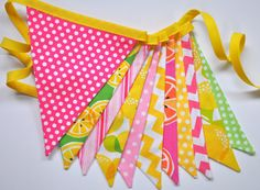 Pink Lemonade fabric pennant banner bunting, lemonade stand, room decor, party decoration, photo prop