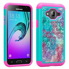 Amazon.com: Samsung Galaxy J3 Case, J3V, Galaxy Express Prime, Galaxy Sol, Galaxy Amp Prime Case Unique Design [Drop Protection Shock Resistant] Crystal Jewel Bling Case by Zase ® (Diamond Teal Hot Pink Flower): I'm planning on getting 1 of 3 phone cases, this being one of them.