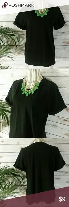 Banana Republic Black Basic Tee Rolled Sleeves Black is very lightly faded. Size XL. Great top! You'll love how comfy this one is! Banana Republic Tops Tees - Short Sleeve