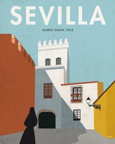 Sevilla p, Spain Poster Retro, Poster Vintage, Vintage Travel Posters, Art Deco Artwork, Wall Art Decor, Poster Design, Logo Design, Illustrations Vintage, Poster City