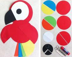 DIY Projekte für Kinder zum Nachmachen, Papagei aus Papier basteln, Materialien: Papier, Schere, Klebstoff, Bleistift