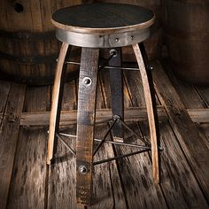 Bourbon Barrel Stave Swivel Stool at Wine Enthusiast - $349.00