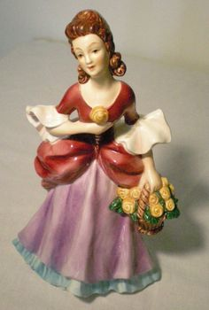Vintage Goebel Lady Figurine FF276 with Flower Basket Signed-Perfect Condition $20