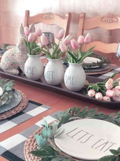 01 farmhouse spring decor ideas for your. - 70 farmhouse spring decor ideas for your home inspiration – Wholehomekover - Farmhouse Table Centerpieces, Farmhouse Decor, Modern Farmhouse, Antique Farmhouse, Farm Table Decor, Farmhouse Kitchens, Farmhouse Homes, Farmhouse Style, Easter Table Decorations