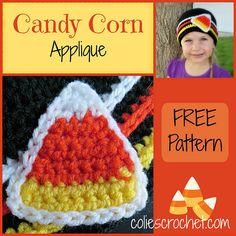 10 FREE Candy Corn Crochet Patterns: Candy Corn Applique FREE Crochet Pattern