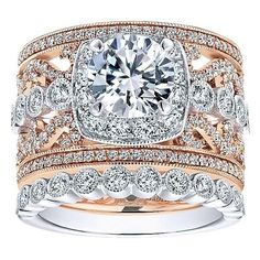 18K Rose and White Gold Stacked Multi-Band Vintage Diamond Engagement Ring. This ring features 1.21cttw of round diamonds with a two-tone multi-band stacked vin