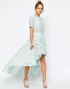 302e4ff829bf ASOS COLLECTION ASOS SALON Lace Dip Back Prom Midi Dress Modest Dresses