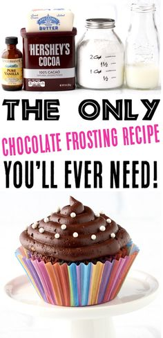 Easy Chocolate Frosting Recipe with Cocoa Powder! {5 Ingredients} Chocolate Icing Recipes, Homemade Chocolate Frosting, Brownie Frosting, Chocolate Frosting For Brownies, Chocolate Bowls, Frost Cupcakes, Keto Cupcakes, Cupcake Cakes, Frosting Recipe For Cake