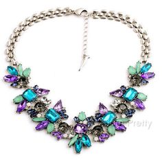 $4.78 Female Fashion Chocker Flower Colorful Crystal Pendant Charm Collar Necklace Jewelry Gifts - BornPrettyStore.com. Use my 10% off code PQL91