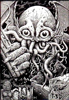 """oldschoolfrp: """" Cthulhu and Deep Ones (Dave Carson, from """"Darklaw, a Call of…"""