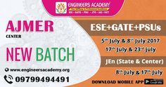 New Batches for GATE, ESE, PSUs & SSC JEn Exam Preparations at Engineers Academy Ajmer Center. Call - 09799494491. Address:- MERC Building , Inside Madhav Dwar, Adarsh Nagar, Ajmer - 305002 (Rajasthan)