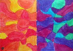 Alicia Calvente. IES García Lorca, Algeciras (2ºB). Armonía de colores cálidos y fríos, realizada con témperas de colores primarios sobre lámina A4. Curso Escolar:14/15