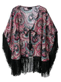 Cardigan kimono multicolore imprimé fleuri avec frange
