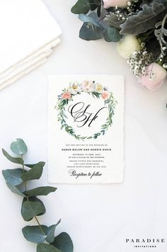 Green and White Elegant and Romantic Wedding Invitation Sets Dusty Pink Weddings, Dusty Rose Wedding, Romantic Weddings, Floral Wedding, Pink Wedding Invitations, Wedding Stationary, Stationery Printing, Thing 1, Envelope Liners