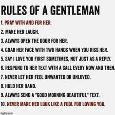 Thank you Husband for ALWAYS being a PERFECT Gentleman!! You do every single one of these things for me!! I love you always & forever!!