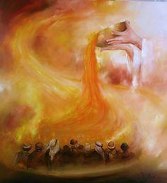 """schilderij PINKSTEREN """"Uitstorting van de Heilige Geest  Handelingen 2:1 Als de dag van pinksteren vervuld wordt,zijn allen op die plek bijeen.Het geschiedt eensklaps:vanuit de hemel klinkt een ruisen zoals van een geweldig gedreven ademen...(vert: Naardense Bijbel)"""