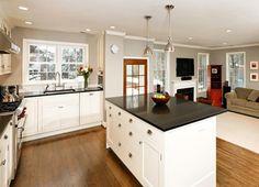 pretty white and grey and black kitchen