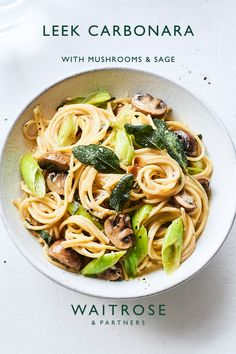 Pastas are a great choice for alfresco eating. Cook this leek carbonara with mushrooms and sage in the morning, then spoon into flasks before heading off to the great outdoors. Tap for the full Waitrose recipe.  Sage Recipes, Veggie Recipes, Pasta Recipes, New Recipes, Vegetarian Recipes, Dinner Recipes, Cooking Recipes, Healthy Recipes, Healthy Snacks