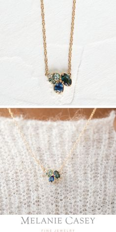 Sapphire Pendant, Sapphire Necklace, Cluster Necklace, Gemstone Necklace, Gold Pendant, Leaf Jewelry, Rose Gold Jewelry, Jewellery, Green Sapphire