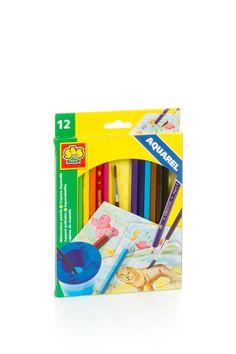 Set special pentru desen cu 12 creioane si pensula pentru copii cu varsta intre 4-6 ani