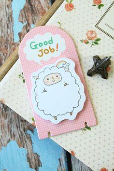 kawaii korean GOOD JOB cartoon sheep sticky notes TABS page marker bookmark memo, £3.00