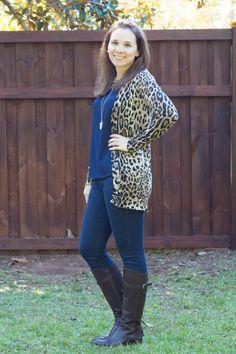 Stitch Fix October 2014 Review - Ellison Davis Leopard Print Button-Up Cardigan