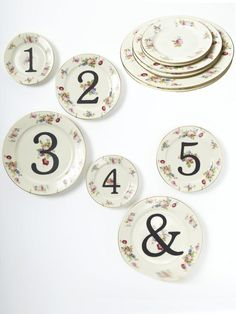 Stenciled China Table Numbers in The Hottest Wedding Trends Right Now from HGTV