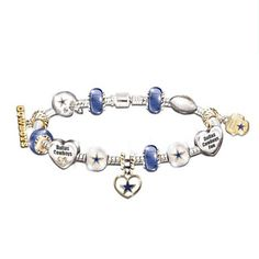 Dallas Cowboys Charm Bracelet With Swarovski Crystals. 13 magnificently crafted charms, plated with gold and sterling silver. Officially licensed by the NFL. Dallas Cowboys Women, Dallas Cowboys Football, Pittsburgh Steelers, Cowboys 4, Steeler Football, Cowboys Apparel, Steelers Fans, Steelers Gear, Steelers Stuff