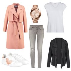 OneOutfitPerDay 2017-03-01 Outfit Idee - #ootd #outfit #fashion #oneoutfitperday #fashionblogger #fashionbloggerde #frauenoutfit #herbstoutfit - Frauen Outfit Frühlings Outfit Outfit des Tages Armedangels Basic-T-Shirt Cardigan Damenuhr IVY & OAK Jeans Michael Kors NiRa Rubens Pieces Replay rose Sneaker Straightcut Jeans T-Shirt Trenchcoat Uhr weiss