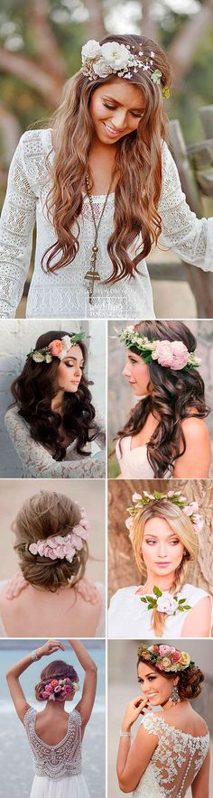 30 Gorgeous Blooming Wedding Hair Bouquets ❤ Floral crowns and blooming wedding hair bouquets are continue to be a trend in bridal hairstyles. See more: www.weddingforwar... #weddings #hairstyles