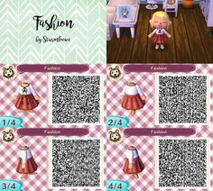 animal crossing new leaf qr code cute modern red white dress with bow outfit fashion mode clothes skirt and shirt acnl design by sturmloewe