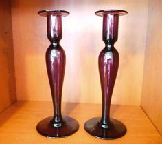 Antique PAIRPOINT Amethyst Candlesticks Purple Glass Candle Holder Pair baluster