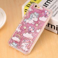 For iPhone 4 4s 5 5s 5c 6 6s 7 Plus Case Cover Lovely Unicorn Dynamic Liquid Bling Star Hard PC Phone Cases Capa Fundas