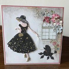 Cat 'n Cart Crafts: Lady with Poodle card Pretty Cards, Cute Cards, Diy Cards, Handmade Birthday Cards, Greeting Cards Handmade, Art Deco Cards, Tattered Lace Cards, Craftwork Cards, Dress Card