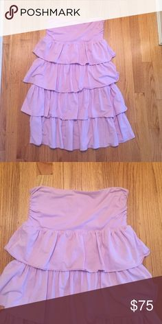 Lavender Strapless JCrew Dress Lavender Strapless JCrew Dress. Four tiers of ruffles that go all the way around. Worn Twice. Excellent condition. No trades. No PayPal. Price up for negotiation. J. Crew Dresses Midi
