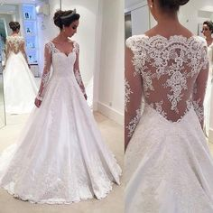 Charming V Neck Appliques A Line Wedding Dress With Long Sleeves-Pgmdress