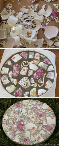 Broken China Stepping Stones Easy Diy Video Tutorial Broken China Mosaic Garden Stones The Whoot Mosaic Crafts, Mosaic Projects, Craft Projects, Kids Crafts, Upcycling Projects, Mosaic Ideas, Yard Art, Mosaic Stepping Stones, Stepping Stones Kids