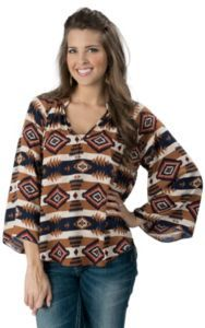 Karlie® Women's Navy, Red and Tan Aztec V-Neck Long Sleeve Fashion Top | Cavender's