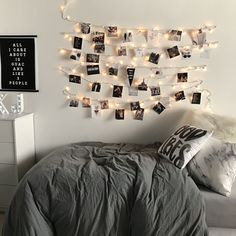 room decor idea with fairy lights or string lights polaroid pictures ...