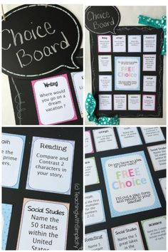 This is an example of a choice board that I have displayed in my class. Each subject is color coded so that students can easily locate what they want to do.