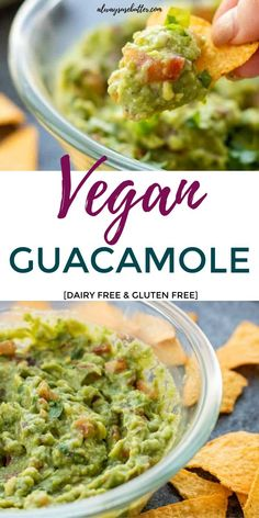 Vegan Guacamole is the ultimate snack food, appetizer, or dip to serve up. Avocado, tomatoes, cilantro, jalapeno come together for a crave-worthy guacamole recipe. And this is dairy free and gluten free! #dip #appetizer #Mexican #gucamole #avocado #cilantro #dairyfree #glutenfree Mexican Appetizers, Easy Appetizer Recipes, Savory Snacks, Healthy Appetizers, Healthy Sauces, Healthy Food, Dairy Free Dip Recipes, Dairy Free Dips, Gluten Free
