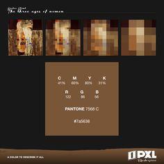 """The three ages of women"" by Gustav Klimt.  C 41% M 60% Y 80% K 31% R 122 G 86B 56 PANTONE 7568C #7a5638"