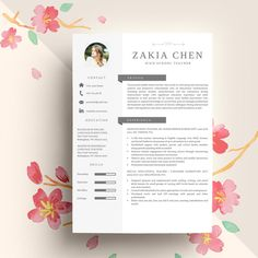 Professional Creative Resume Template for Word (US Letter and A4) 1 & 2 Page CV Template, for Mac Instant Download, Cover Letter, lebenslauf