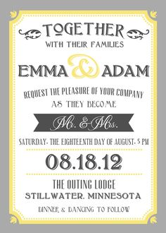 Printable Wedding Invite and RSVP Invitation Set - Yellow and Grey Vintage Typographic Poster Style