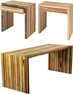 can slide a filing cabinet beneath. Junk Joinery: Scrap Wood Strips Make Fresh New Furniture Timber Furniture, Reclaimed Furniture, New Furniture, Pallet Furniture, Furniture Makeover, Furniture Design, Timber Table, Wooden Tables, Diy Furniture Making