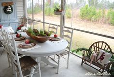 A great idea for decorating an enclosed porch for Christmas! - Dear Lillie: The Rest of Our RED Christmas Porch
